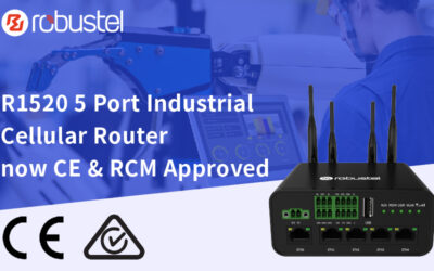 Robustel's 5 Port Industrial Cellular Router the R1520 Receives CE & RCM Approval
